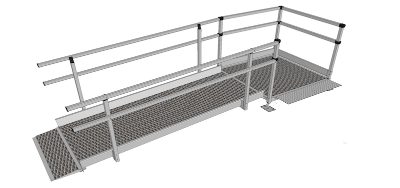 1500mm Wide Modular Ramp Kits Double Handrails