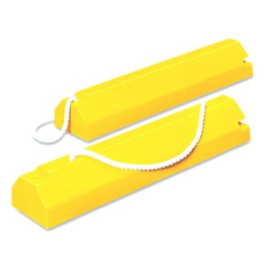 Pair of yellow aviation chocks with locking rope