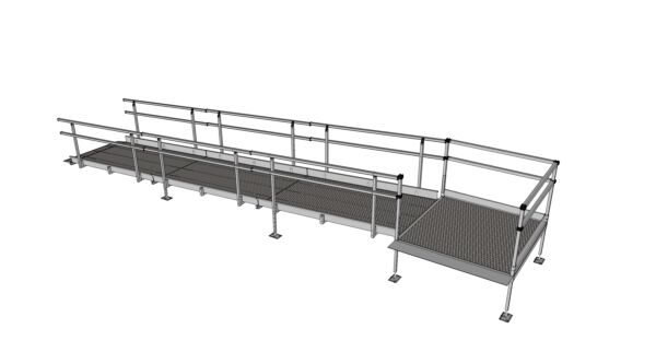 Fully assembled modular ramp