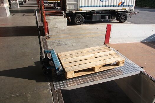 Bridge loading ramp with pallet truck