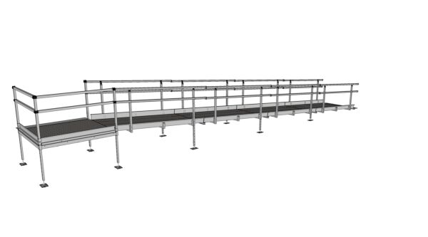 Technical drawing of 9200mm modular wheelchair ramp