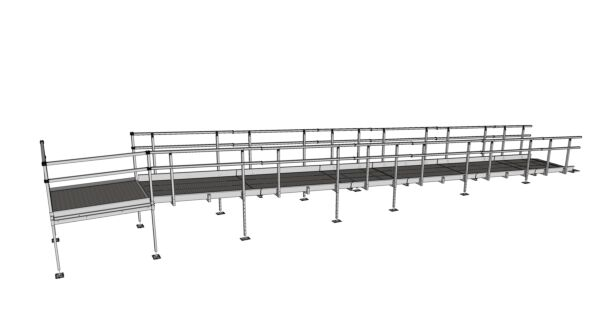 Technical drawing of modular ramp