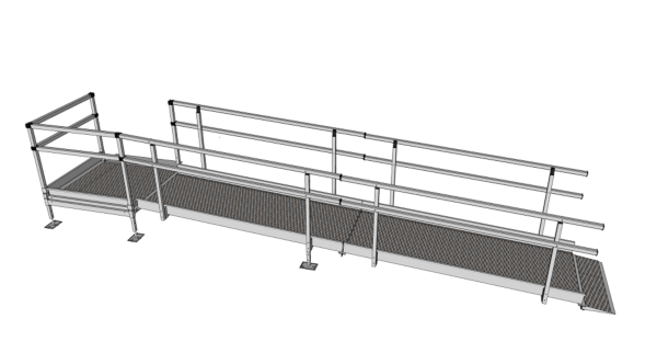 Modular Kit with Platform and Double Height Handrails (1500mm x 4600mm long)