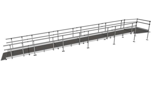 Modular Kit with Platform and Double Height Handrails (1100mm x 9800mm long.)