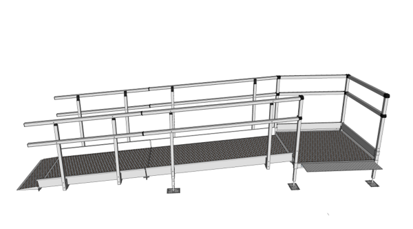 3300mm long modular ramp kit with handrails