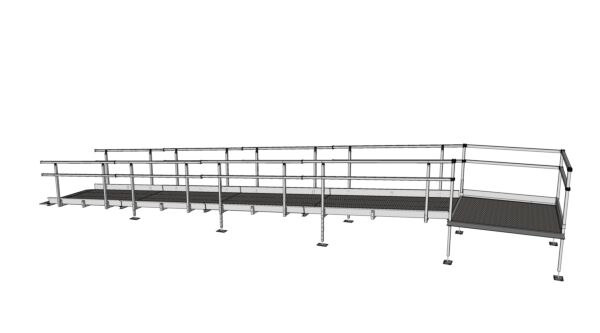 Modular Kit with Platform and Double Height Handrails (1100mm x 8000mm long)