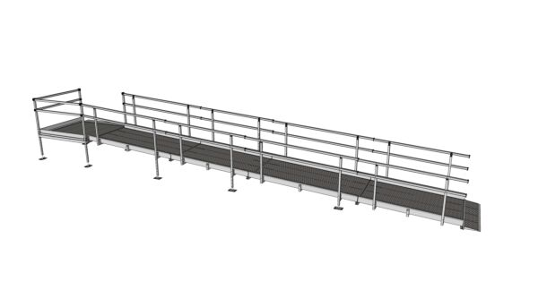 Modular Kit with Platform and Double Height Handrails (1100mm x 8400mm long)
