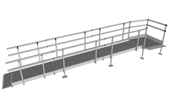 Modular Kit with Platform and Double Height Handrails (1100mm x 5200mm long)