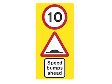 Wall mounted speed bump sign