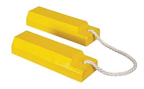 Pair of yellow aviation wheel chocks
