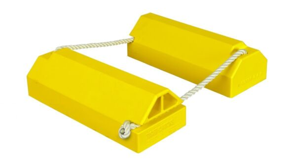 Aviation Chock with locking rope(508mm long x 203mm wide x 152mm high - 1270mm Lanyard- No rubber base) Hi-Vis Yellow