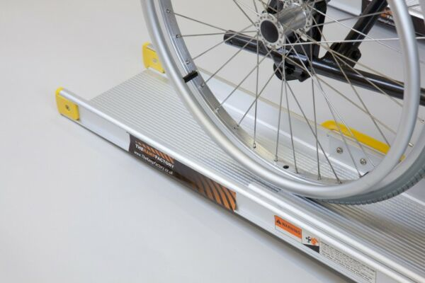 Wheelchair wheel on channel ramp