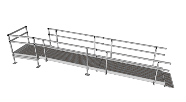 Modular wheelchair ramp with hand rails