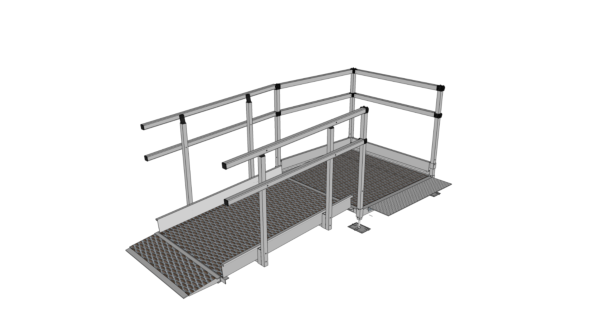 Modular ramp with connecting plate