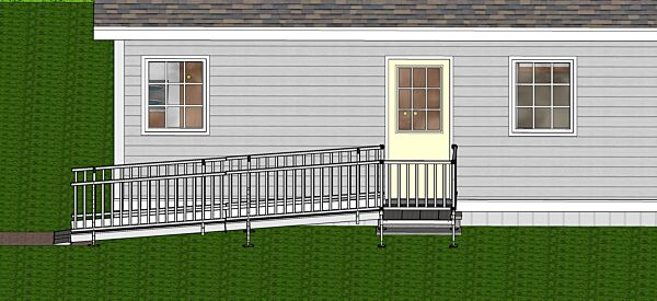 Modular wheelchair ramp at front of house