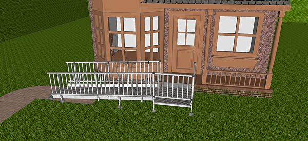Front view of modular wheelchair ramp