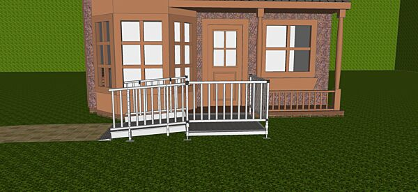 Modular ramp with balustrade handrails
