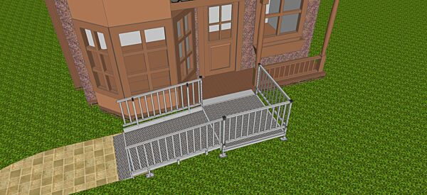Modular wheelchair ramp with balustrade handle
