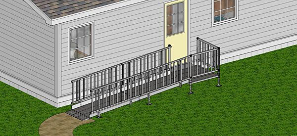 Balustrade handrails on modular wheelchair ramp