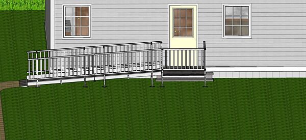 Front view of modular ramp