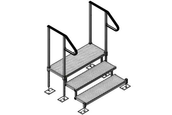 Adjustable 3 step kit with handrails