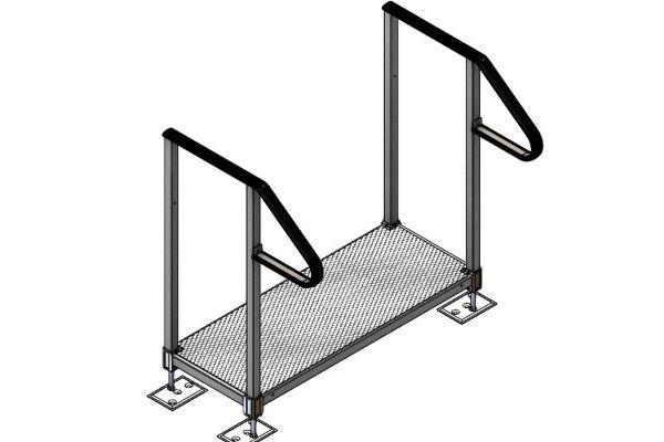 Single adjustable step with handrails