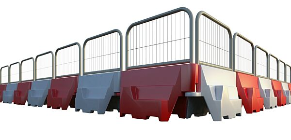 Interlocking barriers with fencing