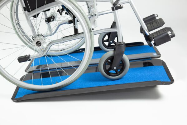 Wheelchair on carbon fibre ramp