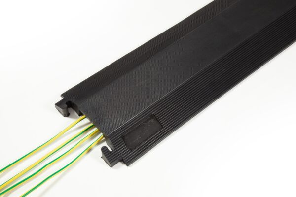 Black rubber cable protector with cables