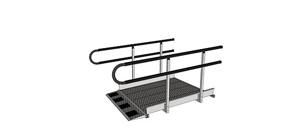 U shaped handrail ends for modular ramps
