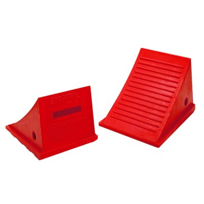 Pair of red Checkers wheel chocks